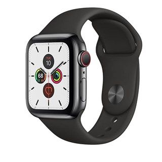 Apple Watch Series 5 Space Black Stainless Steel Case with Black Sport Band Cellular - S/M & M/L - 44mm