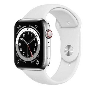 Apple Watch Series 6 Silver Stainless Steel, White Sport, LTE 44mm