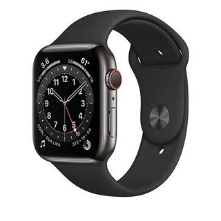 Apple Watch Series 6 Graphite Stainless Steel, Black Sport Band, LTE 44mm