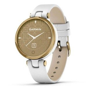 Garmin Lily Light Gold Bezel - White Case - Leather Band