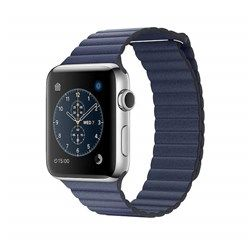 Apple Watch Series 2 Stainless Steel Case with Midnight Blue Leather Loop