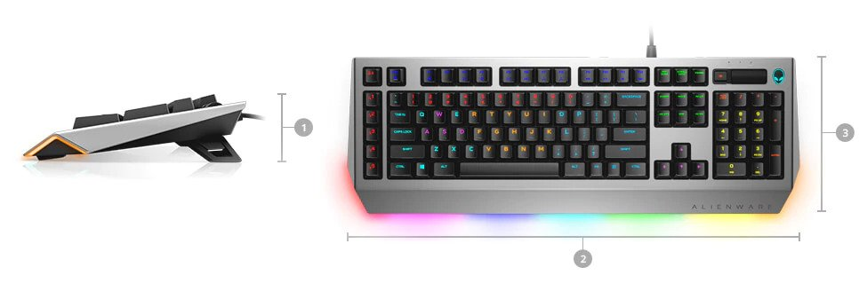 Alienware pro gaming keyboard AW768 - Dimensions & Weight