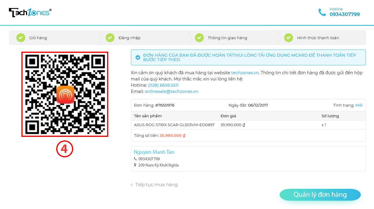 Thanh toán online qua mã QR